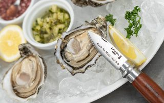 Fresh Oysters on tray with shucking knife