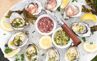 Cromane Oysters with marinated lemon gin cucumber